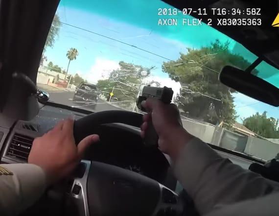 Cop shoots homicide suspect through car windshield