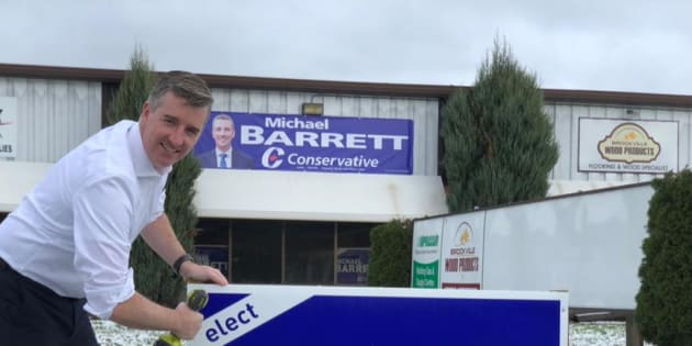 Conservative candidate Michael Barrett, a municipal councillor, has claimed a commanding lead in the Leeds-Grenville-Thousand Islands and Rideau Lakes byelection.