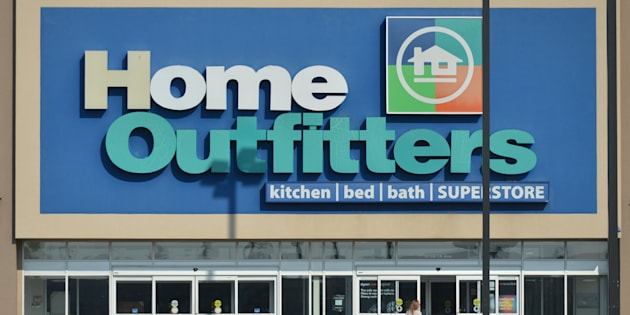 A view of Home Outfitters shop and logo in South Edmonton Common, a retail power centre located in Edmonton.