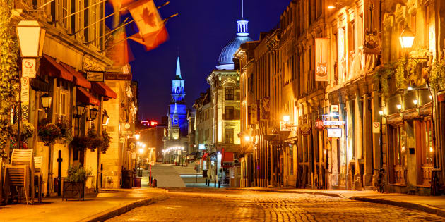 A street in Old Montreal, seen at dusk. Montreal ranks as Canada's most reputable city in the latest rankings from the Reputation Institute.