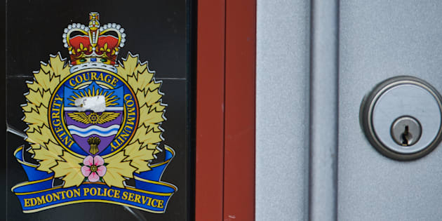 A view of Edmonton Police Service logo in Edmonton's downtown, Sept. 11, 2018.