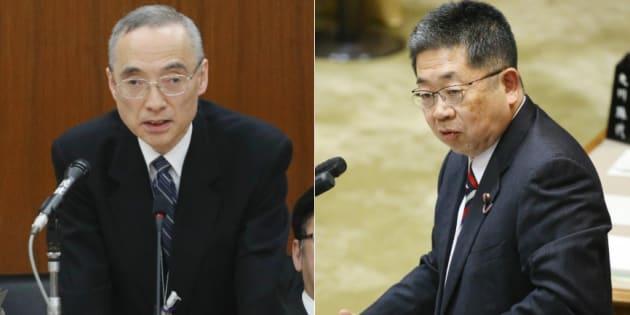 財務省の太田充・理財局長(左)と小池晃氏