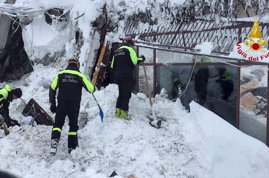 Firefighters work at Hotel Rigopiano in Farindola, central Italy, after it was hit by an avalanche, in this handout picture released on January 20, 2017 provided by Italy's Fire Fighters. Vigili del Fuoco/Handout via REUTERS   ATTENTION EDITORS - THIS IMAGE WAS PROVIDED BY A THIRD PARTY. EDITORIAL USE ONLY.