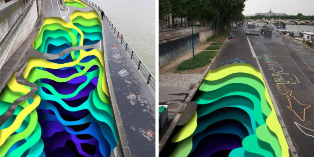 """L'artiste """"1010"""" va peindre les voies sur berge parisienne avec """"Stream"""", un gigantesque trompe-l'oeil"""