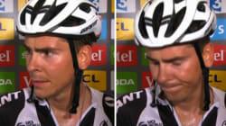 Le moment cruel où ce jeune coureur Francais apprend qu'il est battu d'un