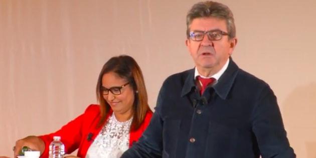 Jean-Luc Mélechon en meeting pour apporter son soutien à la candidate insoumise Farida Amrani