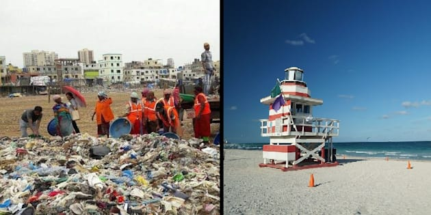 Versova Beach cleanliness drive in November, 2016 (left), Miami Beach in Florida (right)
