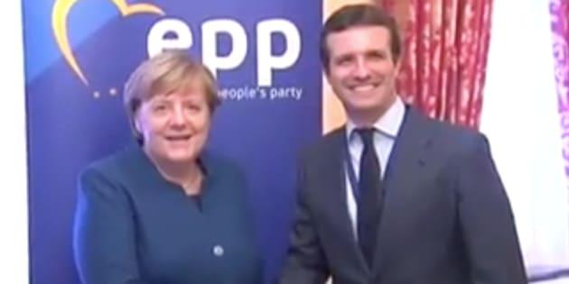 Angela Merkel y Pablo Casado