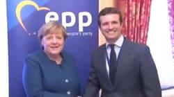 Cachondeo con este gesto de Merkel durante su reunión con