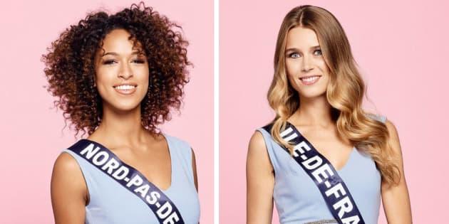 Les photos des 30 candidates à l'élection Miss France 2019 ont été dévoilées. Ici : Miss Nord-Pas-de-Calais, Annabelle Varane et Miss Ile-de-France, Alice Querette.