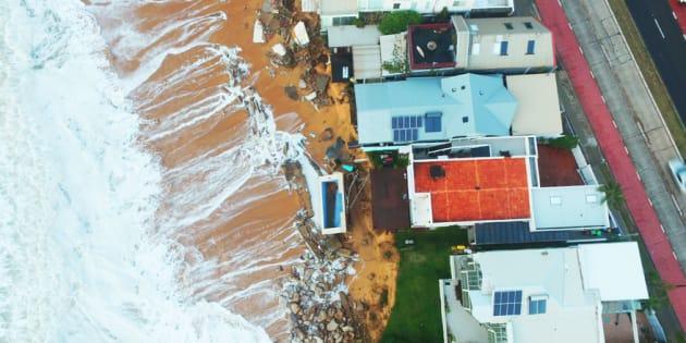 Drone footage shows coastal erosion in Collaroy.