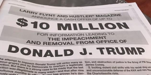 Le roi du porno Larry Flynt offre 10 millions de dollars à qui permettra de destituer Trump