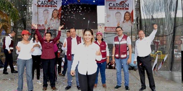 La candidata durante su cierre de campaña en la plaza en el centro de Apaseo el Alto.