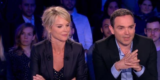 """Vanessa Burggraf et Yann Moix sur le plateau de """"On n'est pas couché""""."""