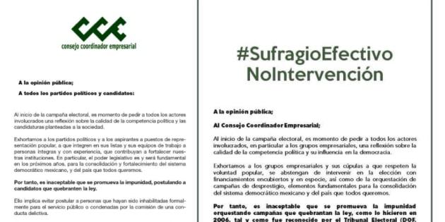 Estos son los desplegados. A la izquierda el que lanzó el Consejo Coordinador Empresarial el jueves 22 de febrero. A la derecha, la respuesta de los ciudadanos a los empresarios.
