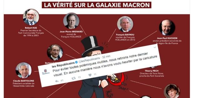 Les Républicains retirent une caricature polémique d'Emmanuel Macron