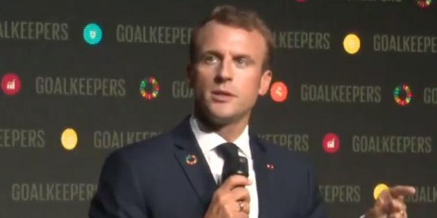 Emmanuel Macron, le 26 septembre 2018, pendant une conférence donnée en anglais en marge de son intervention au siège des Nations Unies.