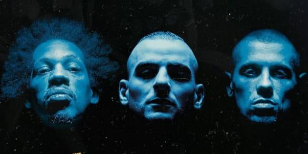 """La célèbre pochette d'album de NTM """"Suprême NTM"""", avec le visage de Fianso placé au centre."""