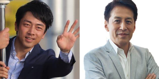 小泉進次郎氏(左)と村尾信尚キャスター
