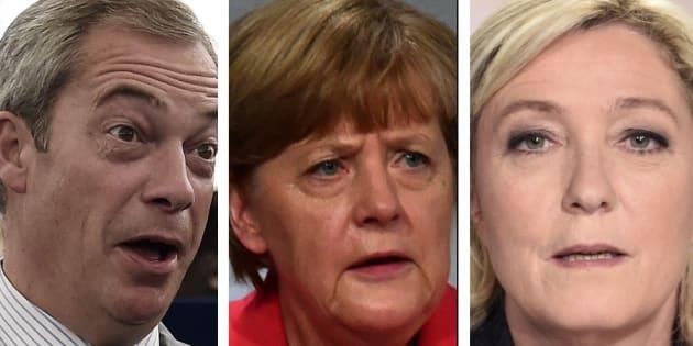 Nigel Farage et Marine Le Pen ont critiqué la politique d'Angela Merkel.