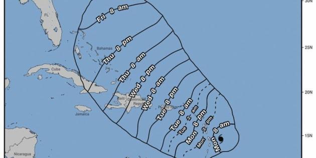 Representación artística que muestra la posible trayectoria de la tormenta tropical María en el Océano Atántico.