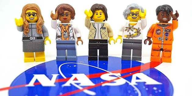 The set depicts, from left, computer scientist Margaret Hamilton, mathematician Katherine Johnson, astronaut Sally Ride, astronomer and executive Nancy Grace Roman and astronaut Mae Jemison.