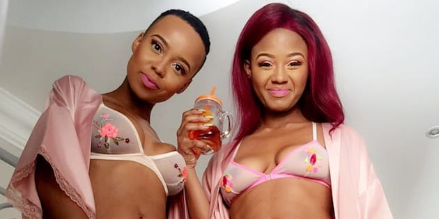 Ntando Duma and Babes Wodumo during the shoot of their new music video.