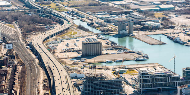 A bird's-eye view of the eastern waterfront in Toronto where Quayside will be built.