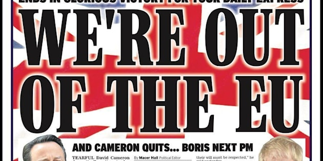 Daily Express front page on day of Brexit