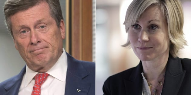 Toronto mayoral candidate and incumbent John Tory (left) and challenger Jennifer Keesmaat.