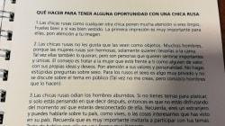 La Fédération argentine a choqué avec ce guide pour séduire une Russe pendant la Coupe du