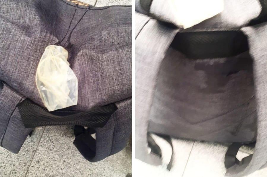 Imagens da mochila de Rebecca Barboza, de 25 anos. A jovem encontrou um camisinha usada em sua mochila enquanto utilizava o transporte público em SP.