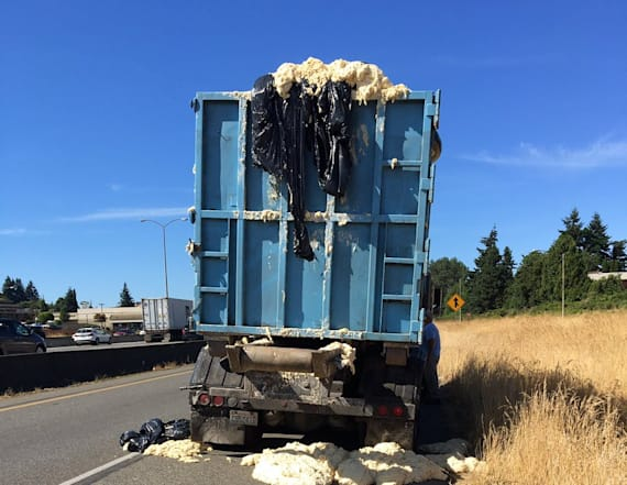 Dough expands in truck, spills onto highway