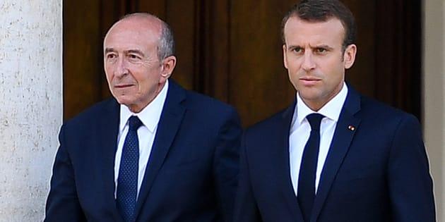 Gérard Collomb et Emmanuel Macron se rendent à une conférence de presse, au Vatican, au mois de juin 2018.