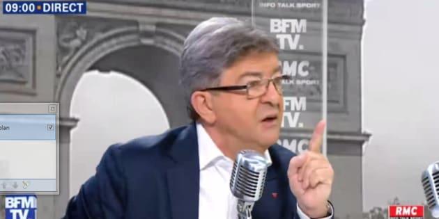 Jean-Luc Mélenchon sur le plateau de BFMTV.