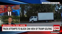 Un mystérieux camion empêche les journalistes de filmer Trump au