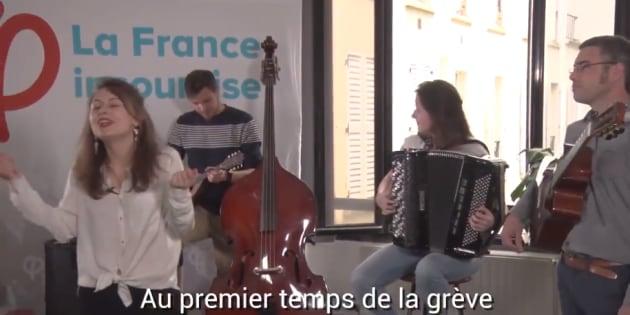 La France Insoumise a enregistré une chanson célébrant toutes les grèves avant la marche anti-Macron du 5 mai.