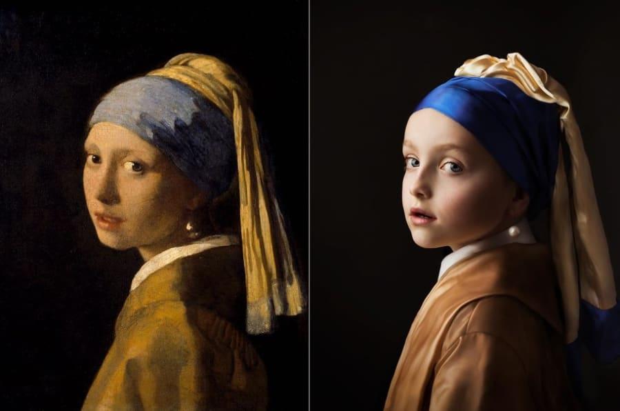 """Johannes Vermeer  """"Ragazza con un orecchino di perla"""" a sinistra e la ricreazione fotografica di Woud-Binnendijk a destra."""