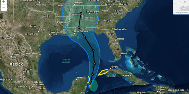 Transición de la tormenta tropical Alberto en el Golfo de México.