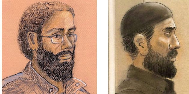 Artist sketches of Chiheb Esseghaier and Raed Jaser, two men found guilty of plotting to derail a Via Rail passenger train are shown.