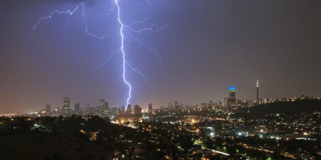 A massive lightning strike over the Johannesburg city skyline.