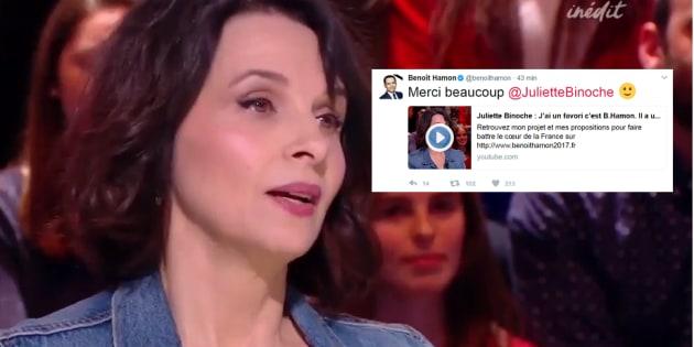 """Juliette Binoche était sur le plateau de """"Quotidien"""" mercredi 22 mars."""