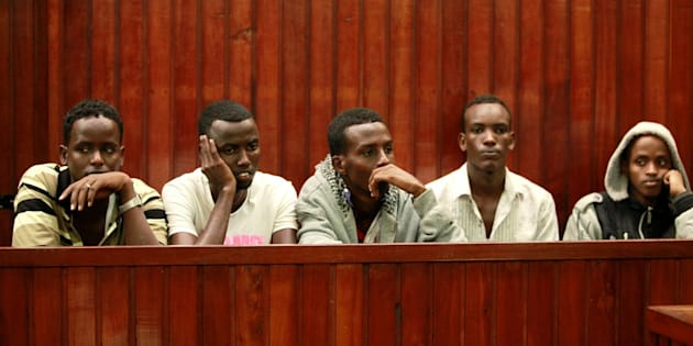 Suspected Somali pirates captured by the Dutch navy working under NATO command.