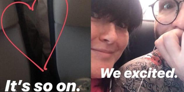 Rosey, alias @roseybeeme a raconte en direct, sur Instagram et Twitter, la rencontre inopinée de ses deux voisins d'avion.