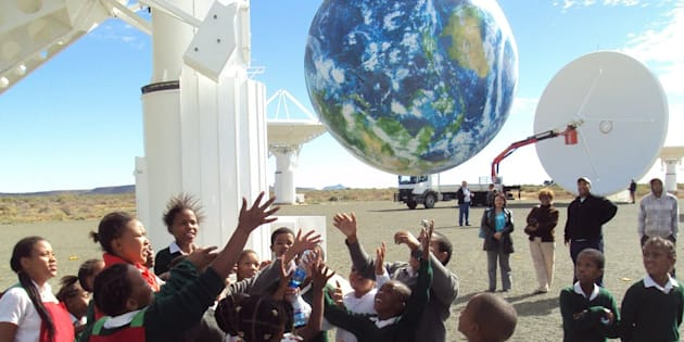 School children at the site of the KAT-7 radio telescope in Carnarvon, South Africa.