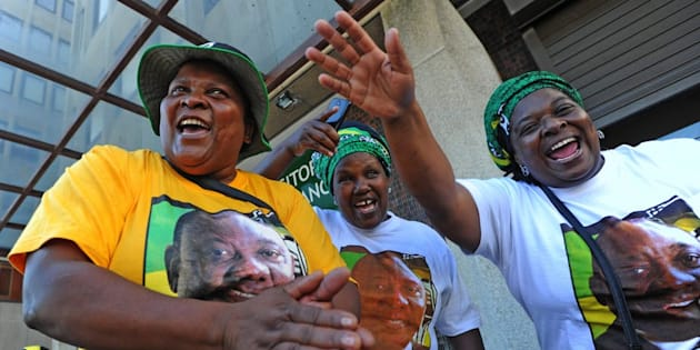 ANC members show their support for party leader and South African President Cyril Ramaphosa.