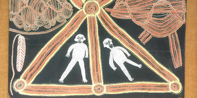 Detail of Untitled (Travelling Dreaming) by Mick Namarari Tjapaltjarri.