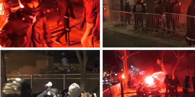 Sur les images tournées par cette agence proche de l'extrême droite, on distingue des individus masqués injuriant et attaquant les grévistes à coups de projectiles.