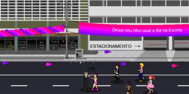 """O objetivo do jogo é fazer com que o personagem, um avatar do capitão reformado Jair Bolsonaro, """"salve o Brasil de uma onda vermelha""""."""