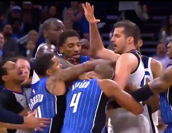 Chaos ensues as punches thrown at NBA game